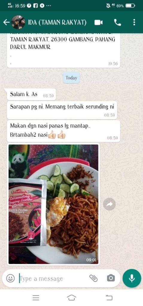 Testimoni Serunding Extra Pedas Makan Nasi Bertambah tambah
